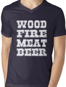 Wood Fire Meat Beer Mens V-Neck T-Shirt