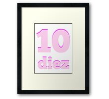 Baby learns the number ten in Spanish pink Framed Print