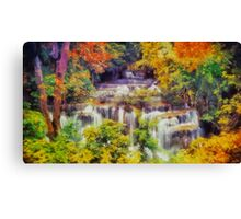 Autumn landscape with waterfall Canvas Print