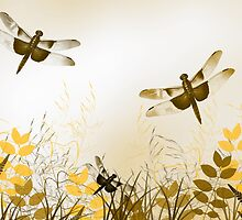 Gold Dragonfly Art by Christina Rollo
