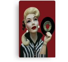 RETRO GIRL WITH RECORD/PICTURE /CARD Canvas Print