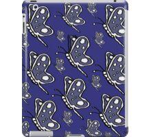 Vintage Butterfly pattern on navy background iPad Case/Skin