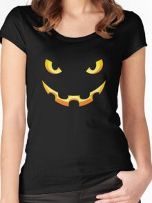 Halloween Pumpkin Face Costume Women's Fitted Scoop T-Shirt