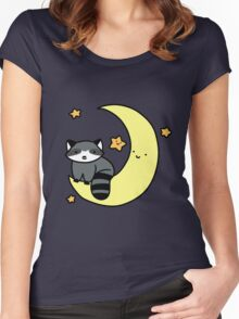 Crescent Moon Raccoon Women's Fitted Scoop T-Shirt