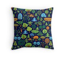 Colorful Assorted Trees Cartoon Style-Blue Background Throw Pillow