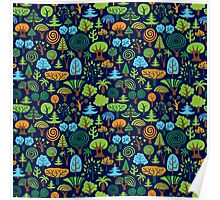 Colorful Assorted Trees Cartoon Style-Blue Background Poster