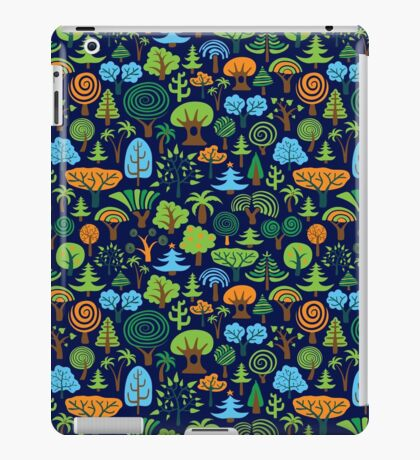 Colorful Assorted Trees Cartoon Style-Blue Background iPad Case/Skin