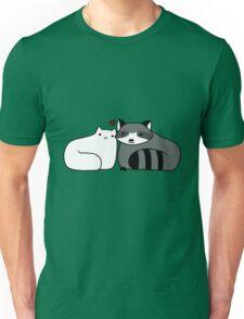 Raccoon and Cat Love Unisex T-Shirt