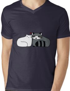 Raccoon and Cat Love Mens V-Neck T-Shirt