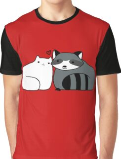 Raccoon and Cat Love Graphic T-Shirt