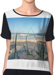 Ocean Blades of Grass Chiffon Top