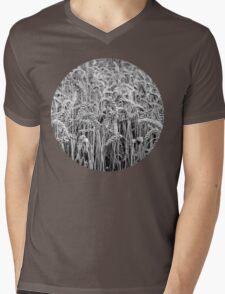 Black and White Wheat Mens V-Neck T-Shirt