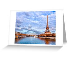 Up The Seine - Eiffel Tower View Greeting Card