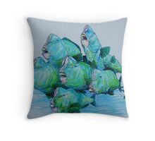 Bump Headed Parrot Fish School Study Throw Pillow