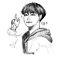 yoongi pencil sketch Photographic Print