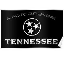Tennessee State Flag Black and White Distressed Poster