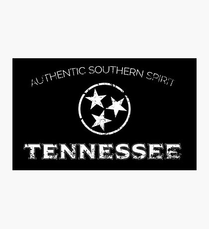 Tennessee State Flag Black and White Distressed Photographic Print