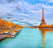 Eiffel Tower Rising Over the Golden Paris Seine by Mark Tisdale
