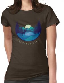 Mountain Life Minimal Landscape Womens Fitted T-Shirt