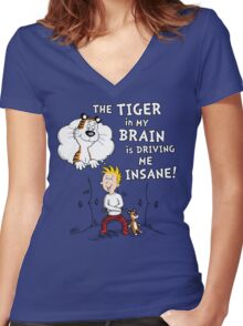 The Tiger in My Brain Women's Fitted V-Neck T-Shirt