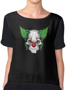 Scary Clown with evil eyes and green hair Chiffon Top