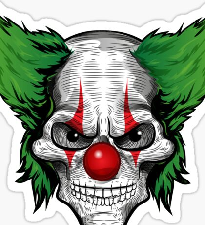 Scary Clown with evil eyes and green hair Sticker