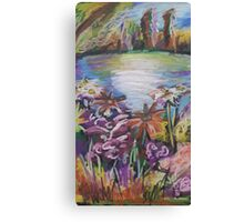 Oil Lake and Flowers Canvas Print
