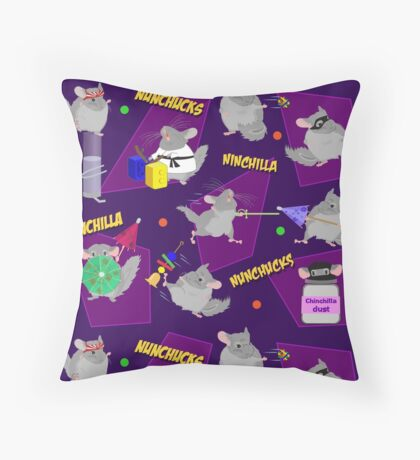 NinChilla Nunchucks in Grape Throw Pillow