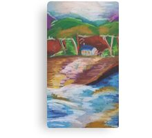 Oil Beachside House Canvas Print