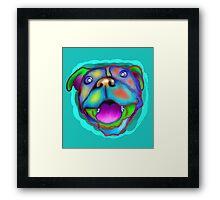acrylic happy pit bull Framed Print