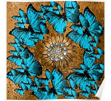 BUTTERFLY WREATH BLUE AND BROWN Poster
