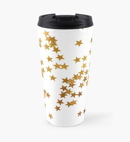 Holiday background with little golden stars Travel Mug