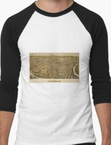 Vintage Pictorial Map of Fort Worth TX (1891) Men's Baseball ¾ T-Shirt