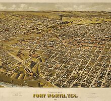 Vintage Pictorial Map of Fort Worth TX (1891) by BravuraMedia