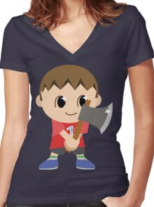 Chibi Animal Crossing Villager Vector Women's Fitted V-Neck T-Shirt
