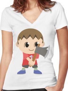 Chibi Animal Crossing Villager Vector Women's Fitted V-Neck T-Shirt