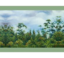 'Taranaki Foothills' border - pale green by Marie-Claire Colyer