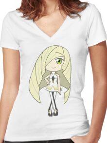 Pokemon Sun/Moon Lusamine Women's Fitted V-Neck T-Shirt