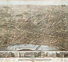 Vintage Pictorial Map of Hartford CT (1877) by BravuraMedia