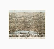 Vintage Pictorial Map of Hartford CT (1877) Unisex T-Shirt