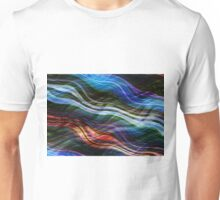 Colorful wavy background created with lines of different thicknesses. Illustration Unisex T-Shirt