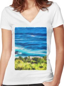 Water on the Rocks 2 Women's Fitted V-Neck T-Shirt