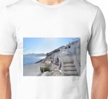 Beautiful white houses in Santorini, Greece Unisex T-Shirt