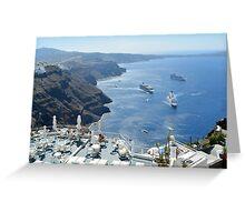 28 September 2016 Beautiful white houses in Santorini, Greece Greeting Card
