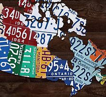 Map of Canada Handmade License Plate Art Print - Dark Stain by Route401