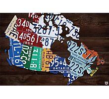 Map of Canada Handmade License Plate Art Print - Dark Stain Photographic Print