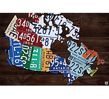 Map of Canada Handmade License Plate Art Print - Dark Stain Photographic Print