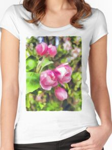Pink Blossoms of Spring Women's Fitted Scoop T-Shirt