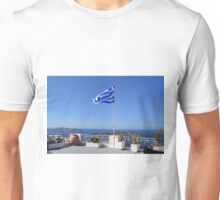 Greek flag in Santorini, Greece Unisex T-Shirt