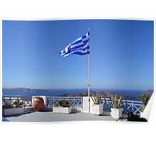 Greek flag in Santorini, Greece Poster